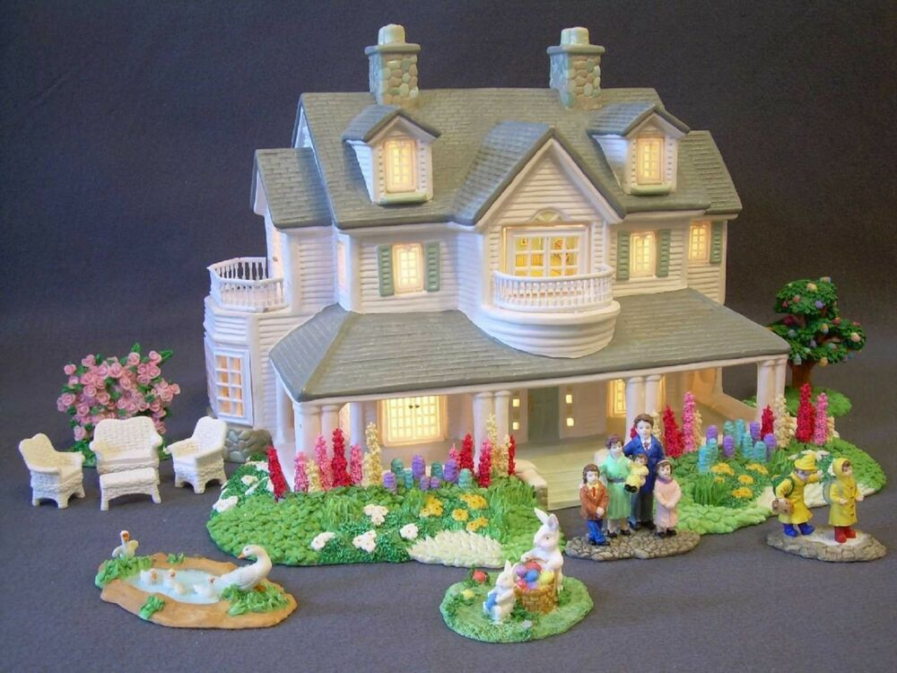 Christmas Easter Village Lighted Ceramic House And