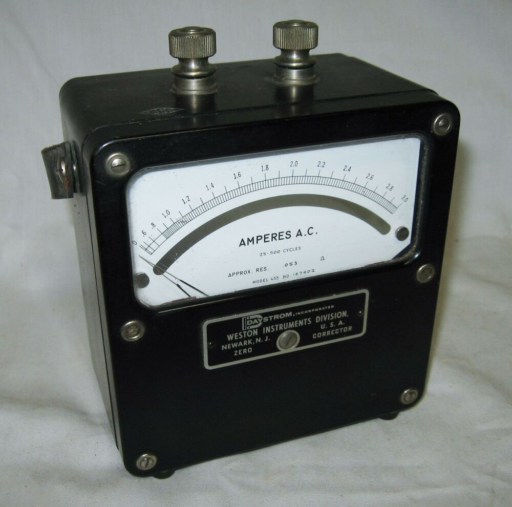 Antique Electrical Measuring Instruments : Weston instruments ac amperes meter ammeter hz