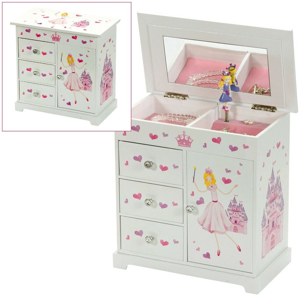 Girls Childrens Large Musical Princess Jewellery Box