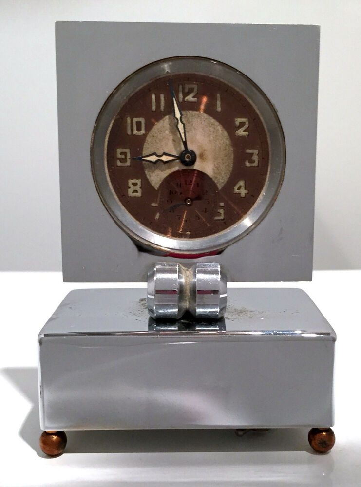 High art deco chrome copper french musical alarm clock Art deco alarm clocks