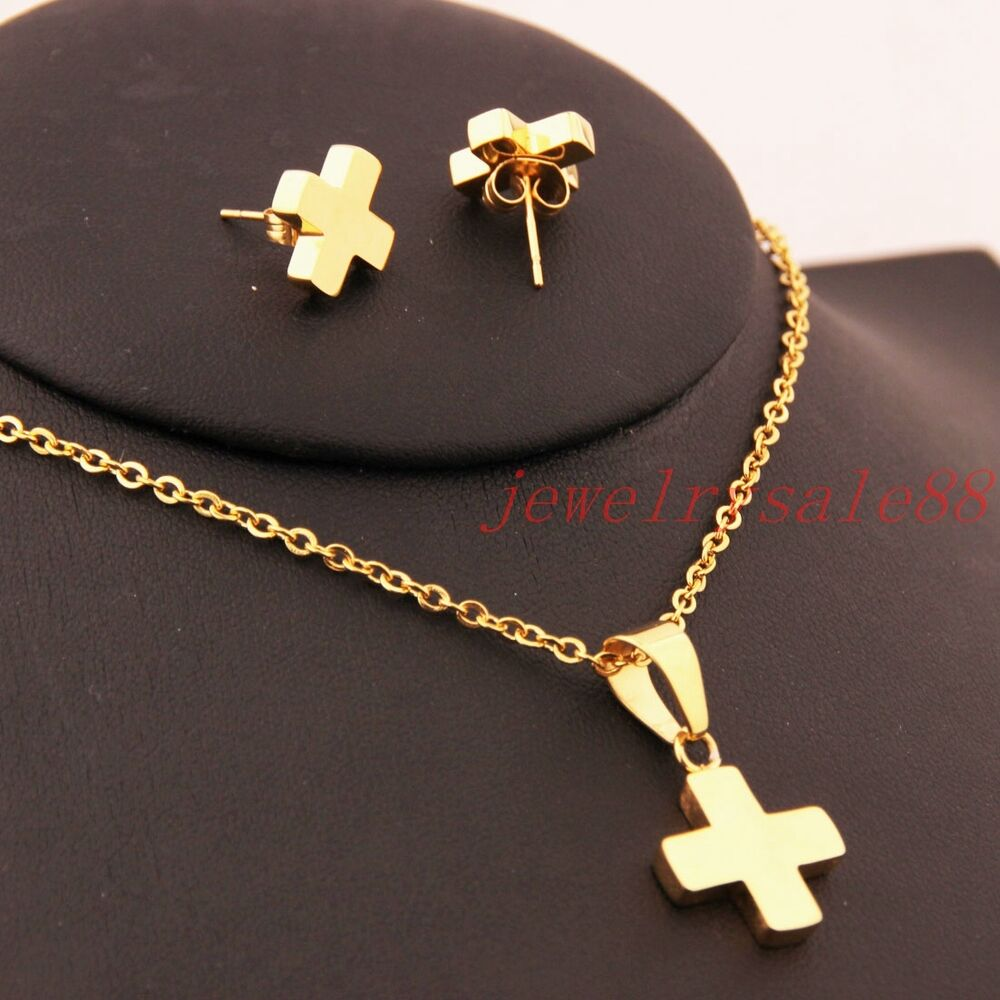 hot womens set stainless steel cross jewelry pendant. Black Bedroom Furniture Sets. Home Design Ideas