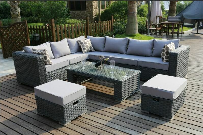 Conservatory Modular 8 Seater Rattan Corner Sofa Set Garden Furniture Grey Ebay