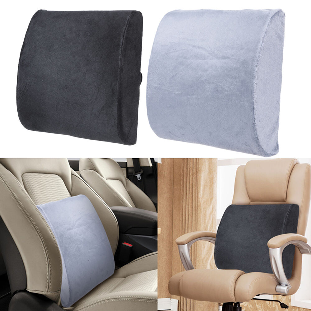 Memory foam lumbar cushion travel pillow car seat home office chair back support ebay - Best back pillow for office chair ...