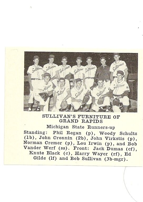 Sullivanu0027s Furniture Of Grand Rapids Michigan 1955 Baseball Team Picture |  EBay