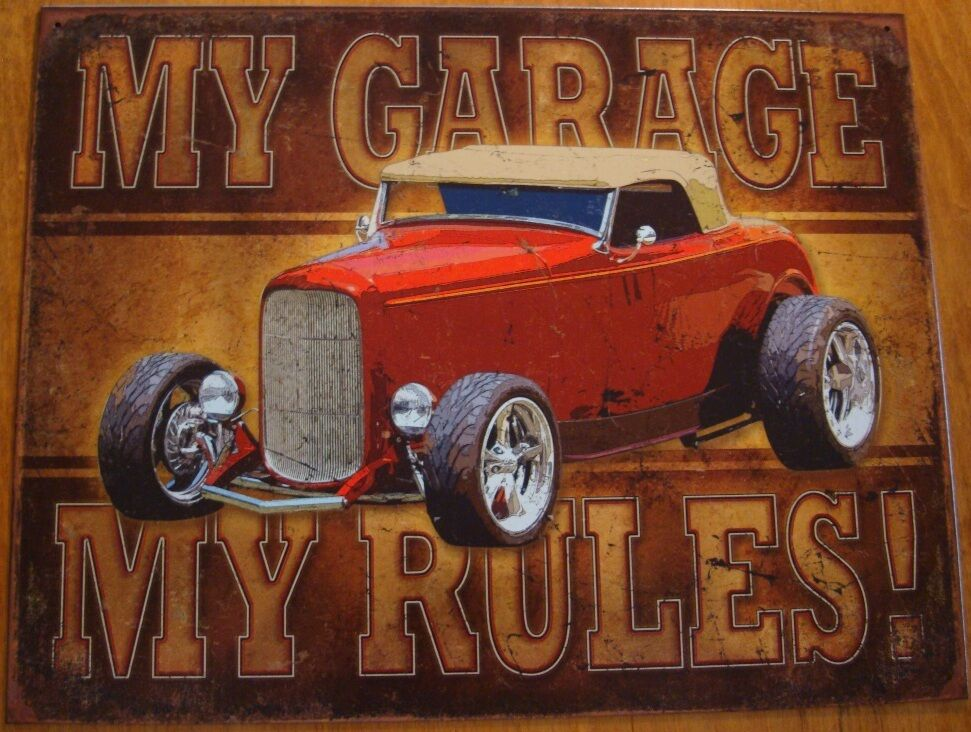 My garage my rules sign hot rod car automobile vehicle for Auto decoration shops in rawalpindi