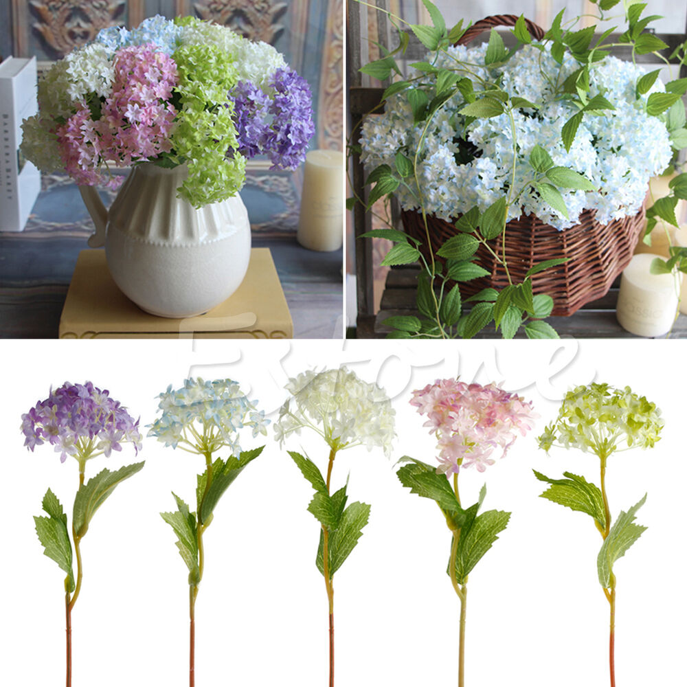 Lot Silk Flowers Bridal Artificial Single Hydrangea Home Wedding Decor Craft New Ebay
