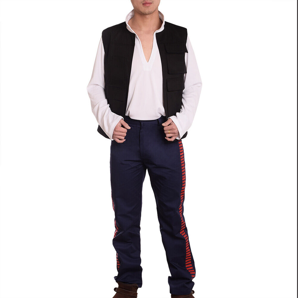 A New Hope Han Solo Outfits Vest +Shirt +Pants Star Wars Cosplay Fancy Dress