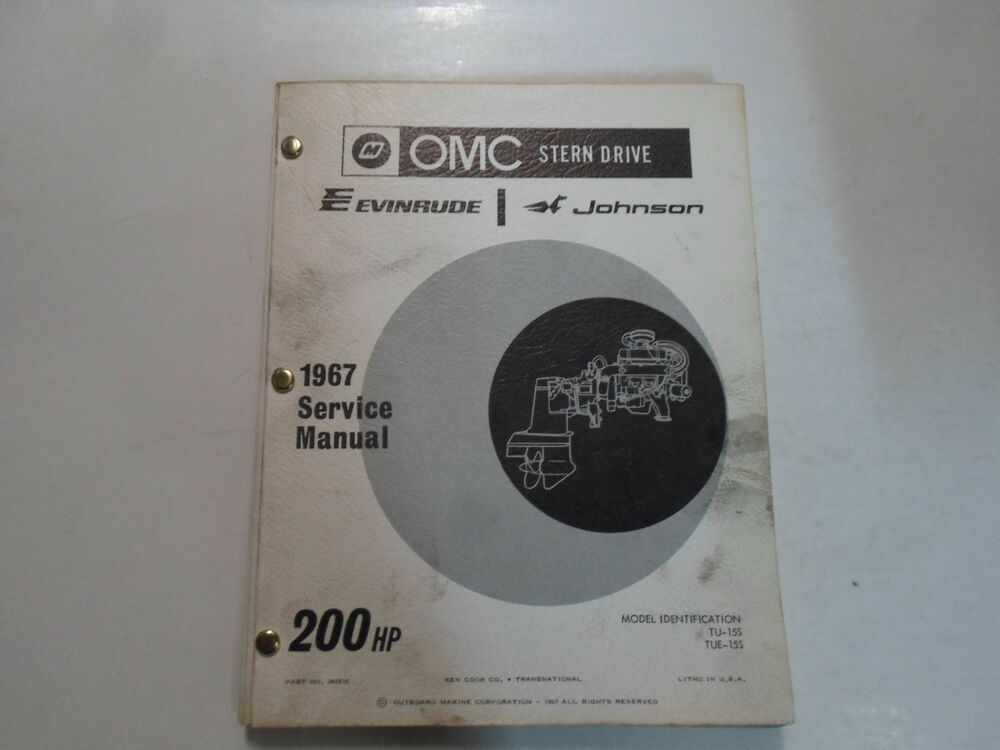 1967 omc stern drive evinrude johnson 200 hp service manual stained rh ebay co uk Evinrude 120 HP Outboard 200 HP Evinrude VRO