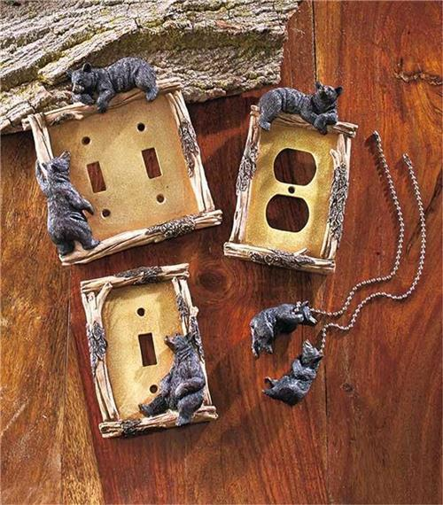 Decorative Rustic Cabin Lodge Bear Themed Light Switch