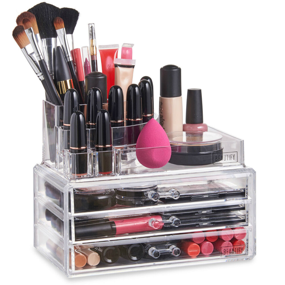 Beautify acrylic make up organiser clear 3 drawer cosmetic for Beauty table organiser