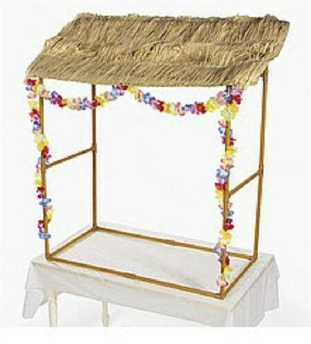Tabletop Tiki Hut W Leis Amp Grass Top Raffia For Hawaiian