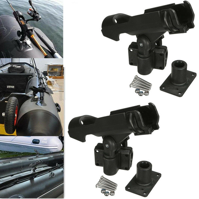 2x adjustable side rail mount kayak boat fishing pole rod for Kayak fishing pole holder
