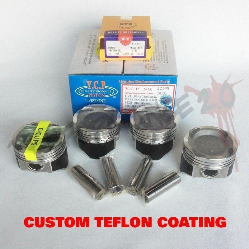 76mm D16 YCP Vitara TURBO Pistons & NPR Rings TEFLON