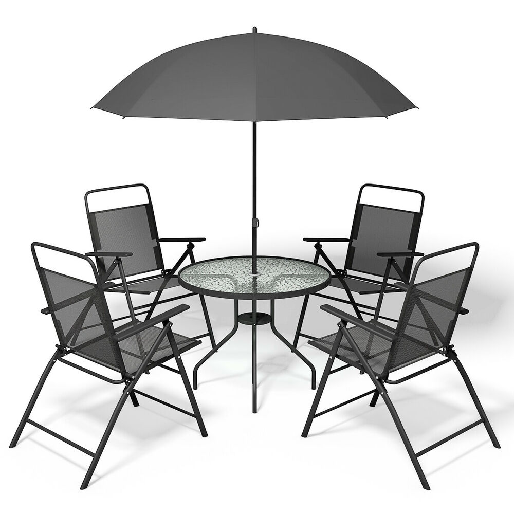6 Pcs Patio Garden Set Furniture 4 Folding Chairs Table