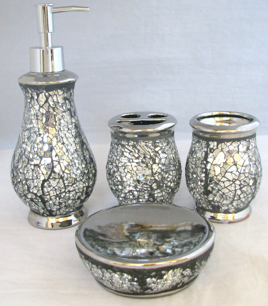 New Silver Glass Mirror Mosaic Bathroom Soap Dispenser