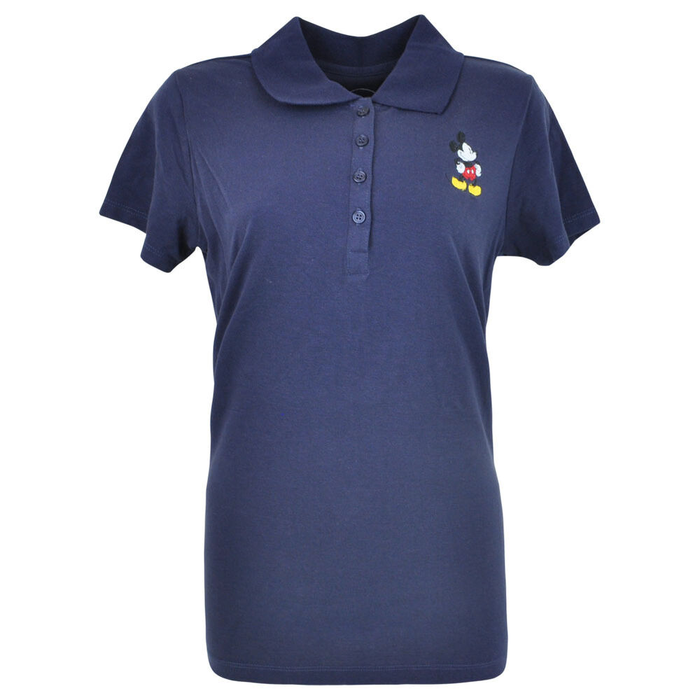 Disney Mickey Mouse Classic Mick Missy Women Ladies Polo Shirt Navy