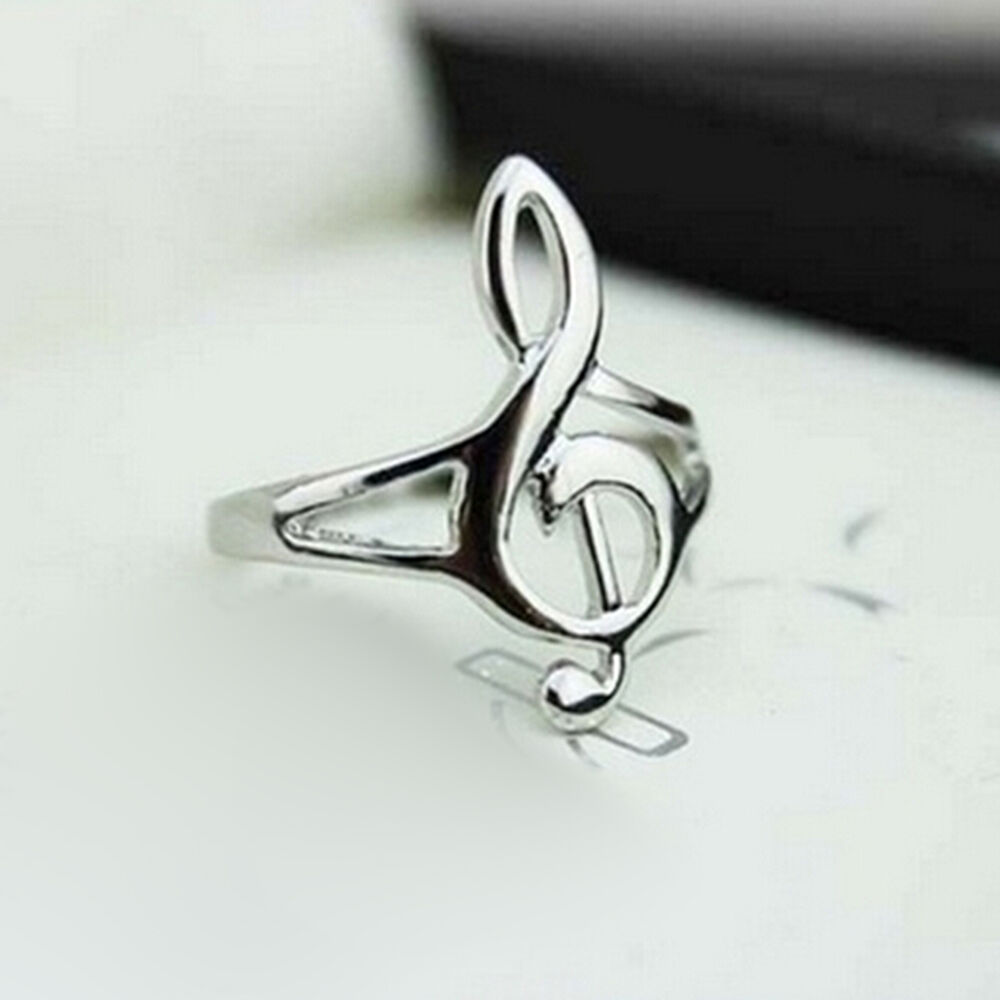 Fashion Silver Color Musical Music Note Ring Treble Clef ...