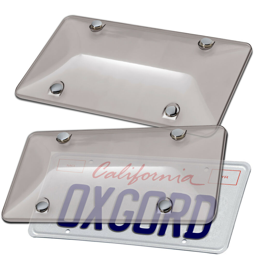 Smoke Gray Tinted License Plate Cover Shield Tag Protector
