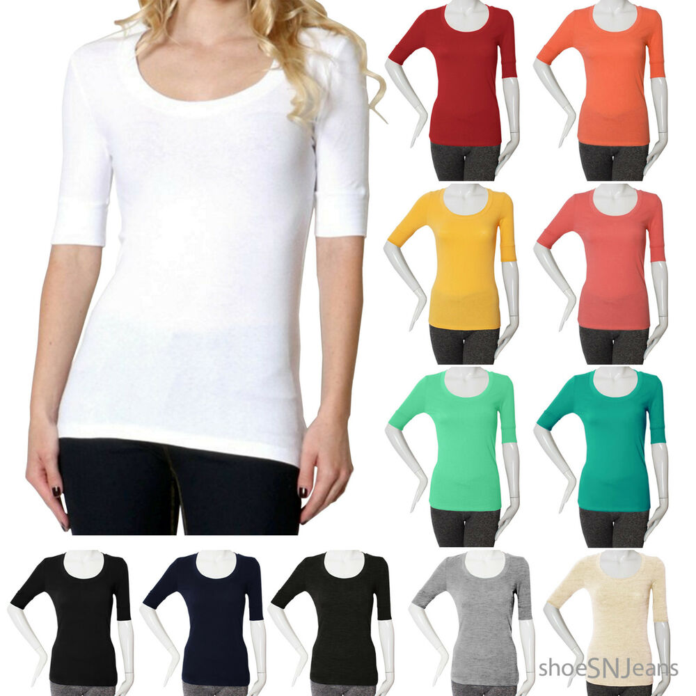 New women active short elbow sleeve scoop neck top plain for Elbow length t shirts women s