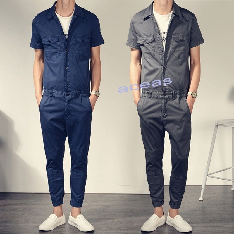 New Fashion Men 39 S Cotton Slim Fit Jumpsuits Overalls