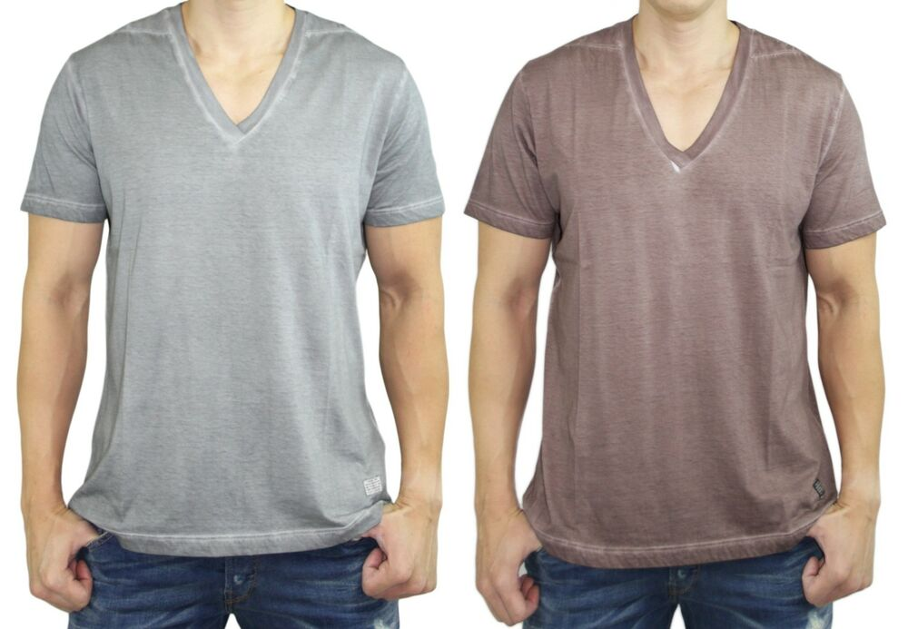 DIESEL Men's Fashion V Neck T-GATIEN Over Dye Tee T-Shirt Top Grey Coffee Mauve | eBay