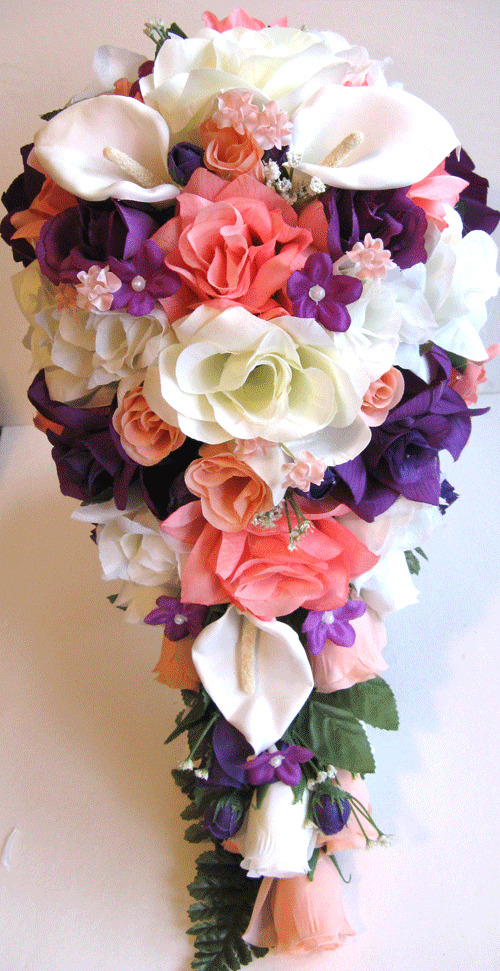 21pc bridal bouquets wedding silk flower coral peach purple calla lily package ebay. Black Bedroom Furniture Sets. Home Design Ideas
