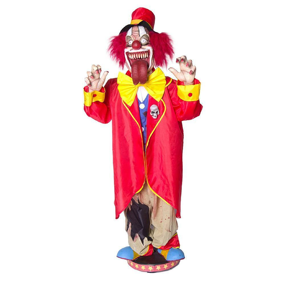 Moving Halloween Decorations: 5' Animated Walking Clown Scary Circus Jester Moving