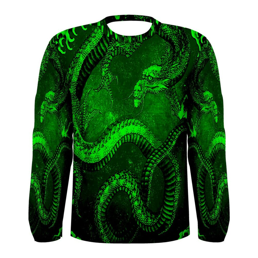 Chinese Green Dragon Long Sleeve T Shirt All Over Sublimation Print