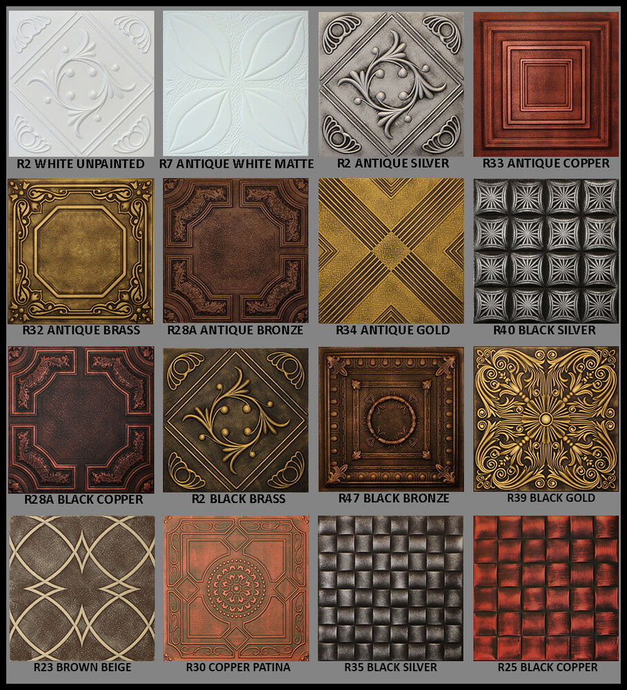 Details About Antique Painted Styrofoam Tin Look Ceiling Tiles 20x20 Diffe Colors