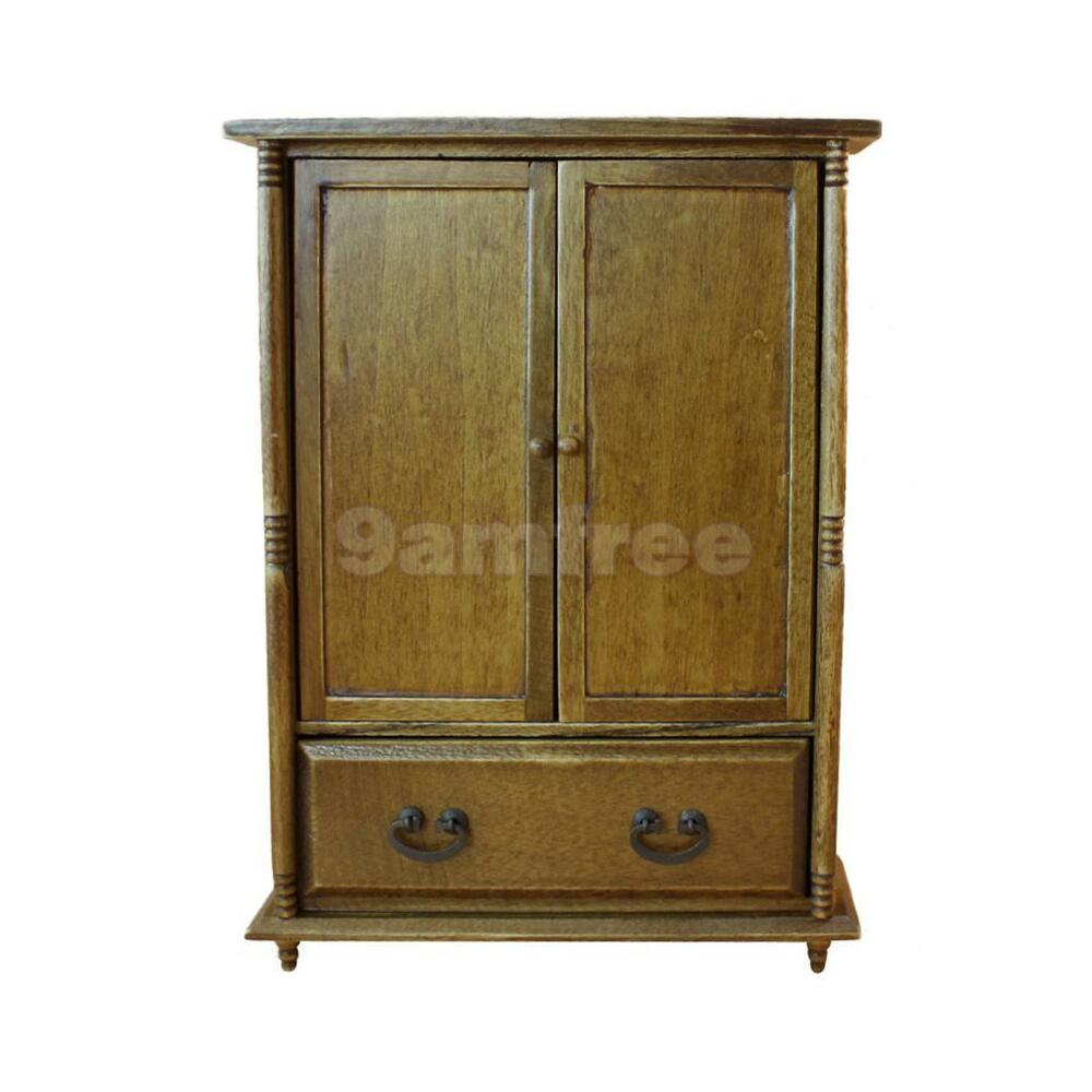 1 12 Scale Vintage Wooden Wardrobe Doll House Miniature Furniture Accessory Ebay