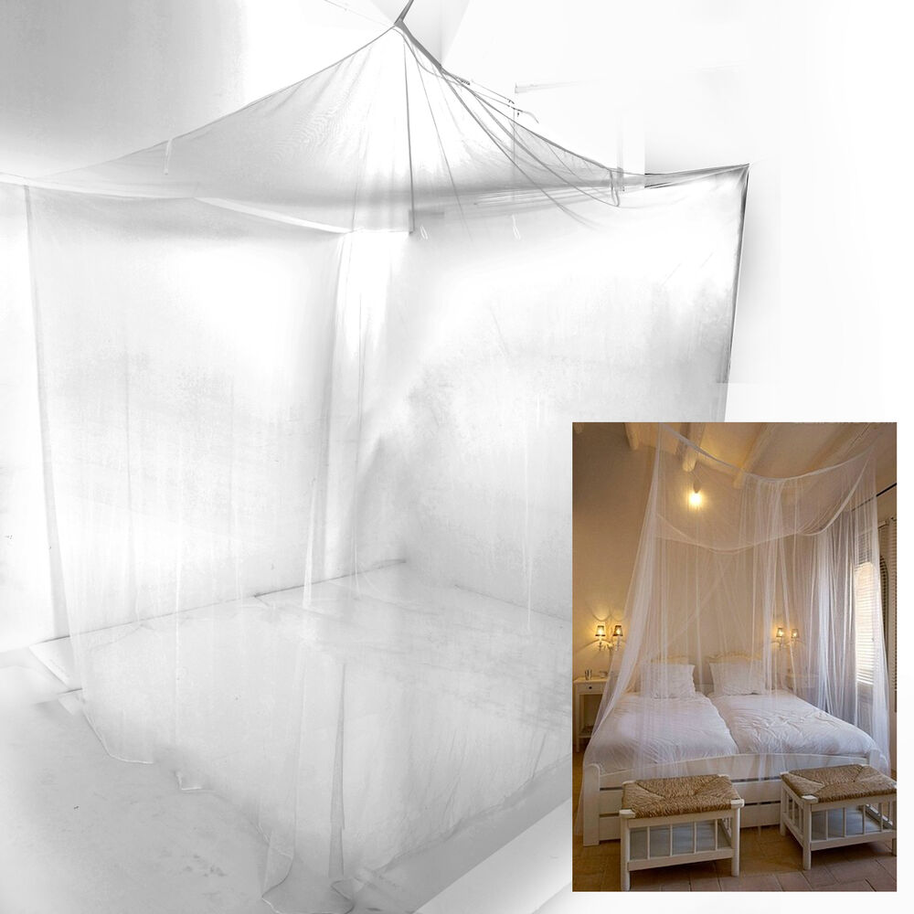 Bed sheer panel canopy net mosquito net bedroom insect for Bed with mosquito net decoration