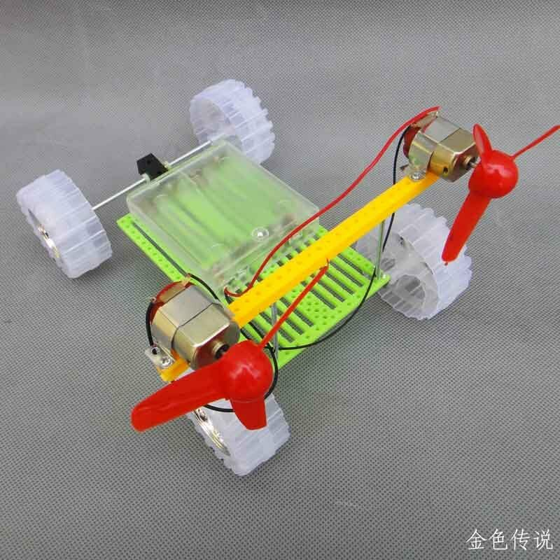 Turn Air Powered Car Double Motor Propeller Toy Diy
