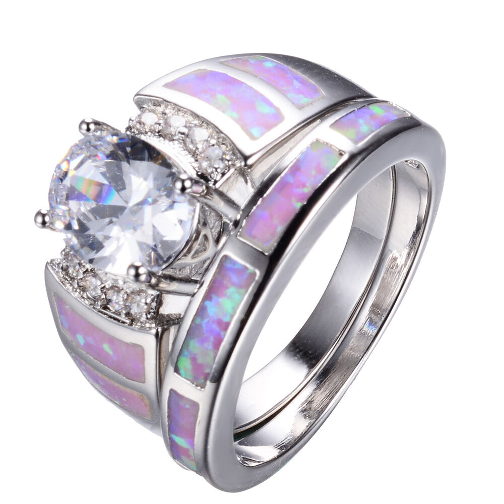 Size 5 10 Oval Sapphire Pink Opal Wedding Band Rings Set 10KT White Gold Fill