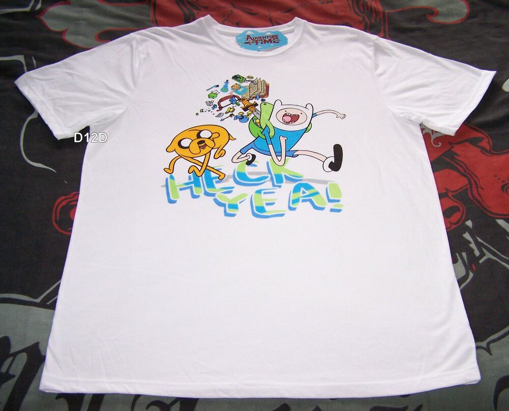 1c24db5d Details about Adventure Time Mens Heck Yea White Printed T Shirt Size XS New