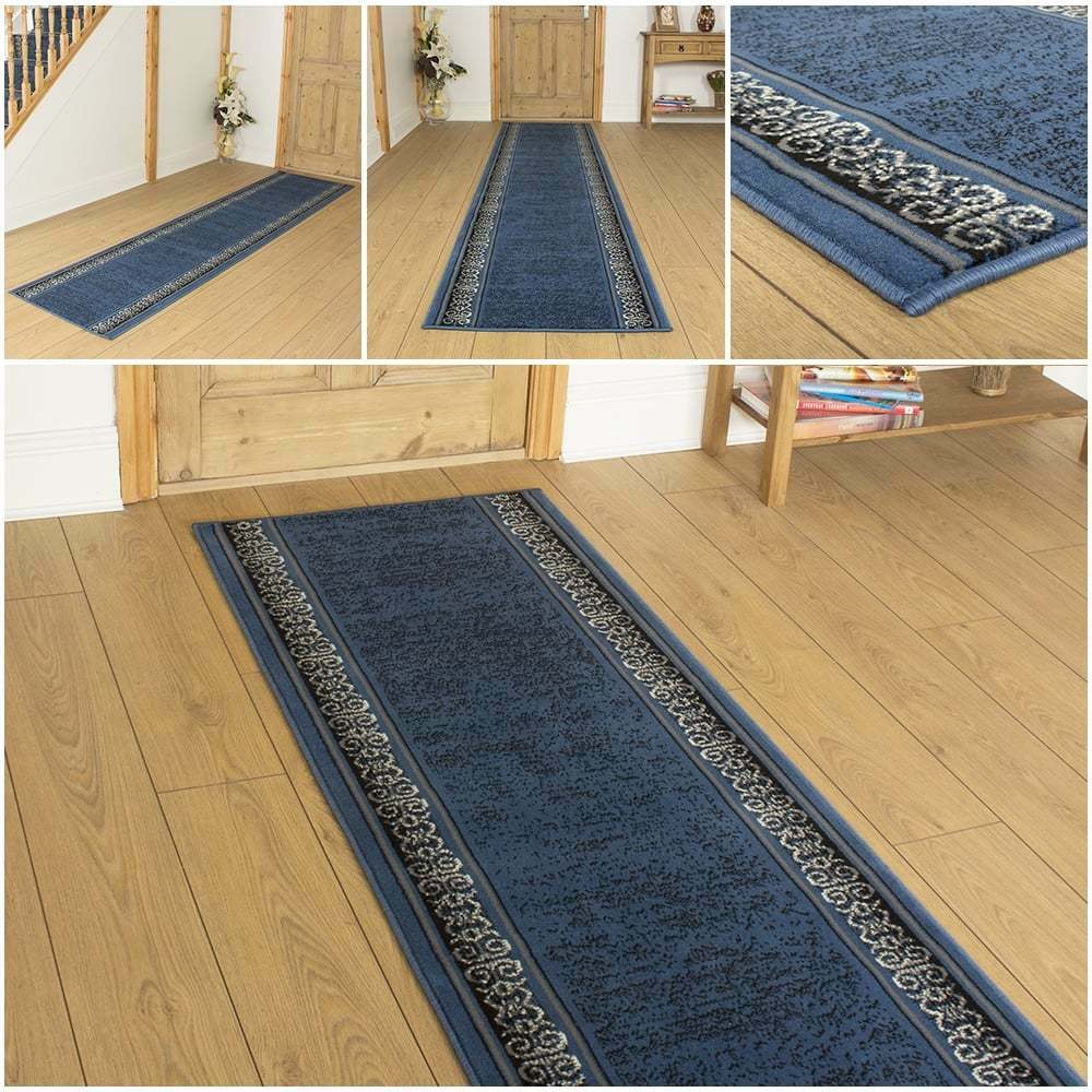 tribal blue hallway carpet runner rug mat for hall extra very long cheap new ebay. Black Bedroom Furniture Sets. Home Design Ideas