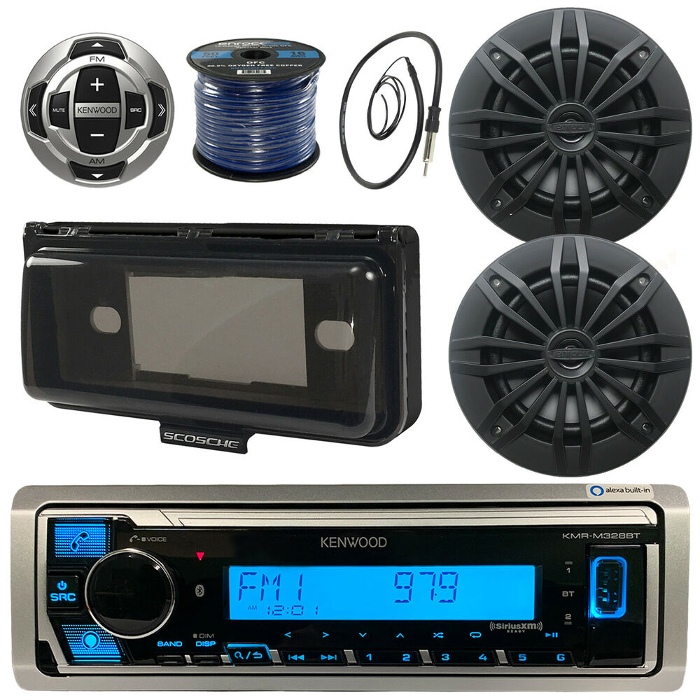 "Kenwood Marine Bluetooth Boat Radio/Remote, 6.5"" Speakers, Wires, Cover,  Antenna 604697422949 