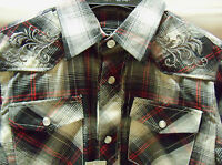Boys Western L/S Black Red Plaid Shirt Silver Embroidered S M XL 6 7 8 10 16 18