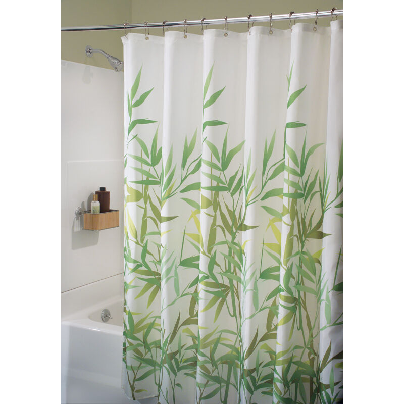 Details About Interdesign 36524 Green Anzu Bamboo Leaves Print Curtain Cloth Shower