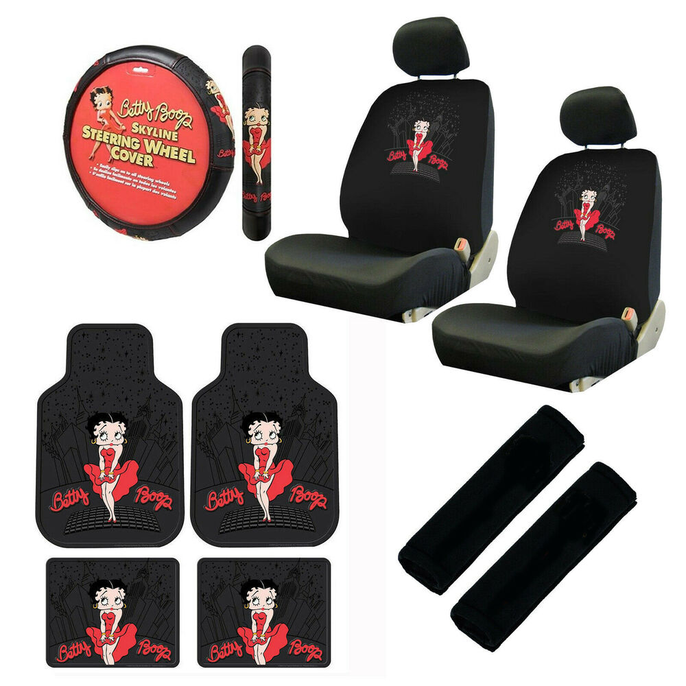 11pc classic betty boop car truck floor mats seat covers steering wheel cover ebay. Black Bedroom Furniture Sets. Home Design Ideas