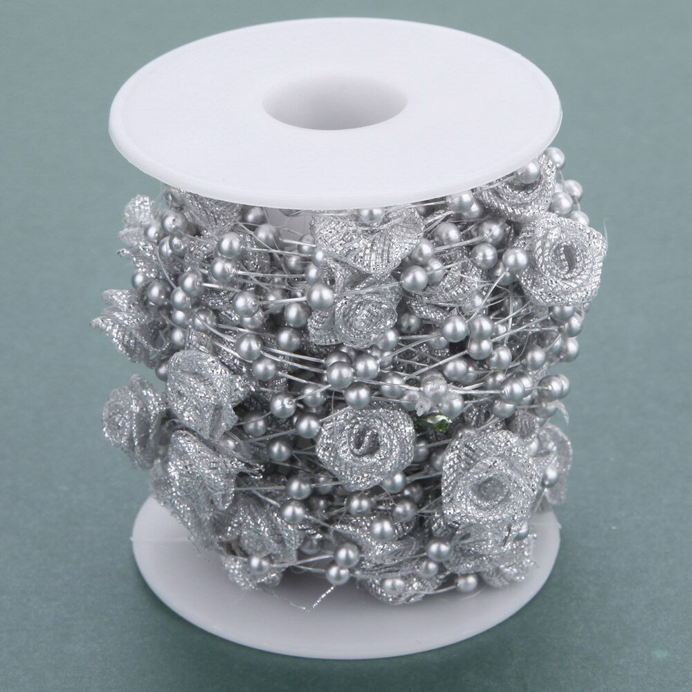 White Pearl Beads Strand Garland Acrylic Wedding Pearl: 10M Flower Ribbon Pearls Beads Chain Garland Home Party
