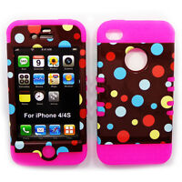 HYBRID Snap On Case For Apple iPhone 4 4S 4GS Polka Dots On Brown Pink Cover