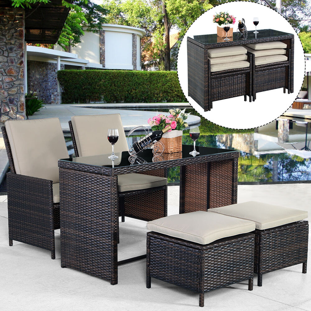 New 5pcs brown cushioned ottoman rattan patio set outdoor for Outdoor patio couch set