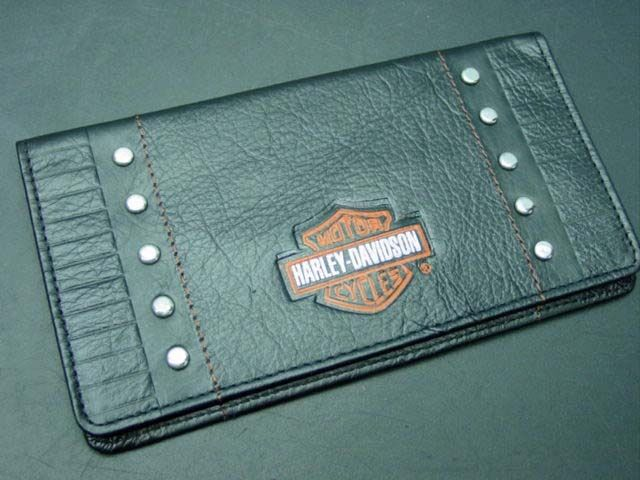 Black Leather Book Cover : Black leather harley davidson check book cover cash