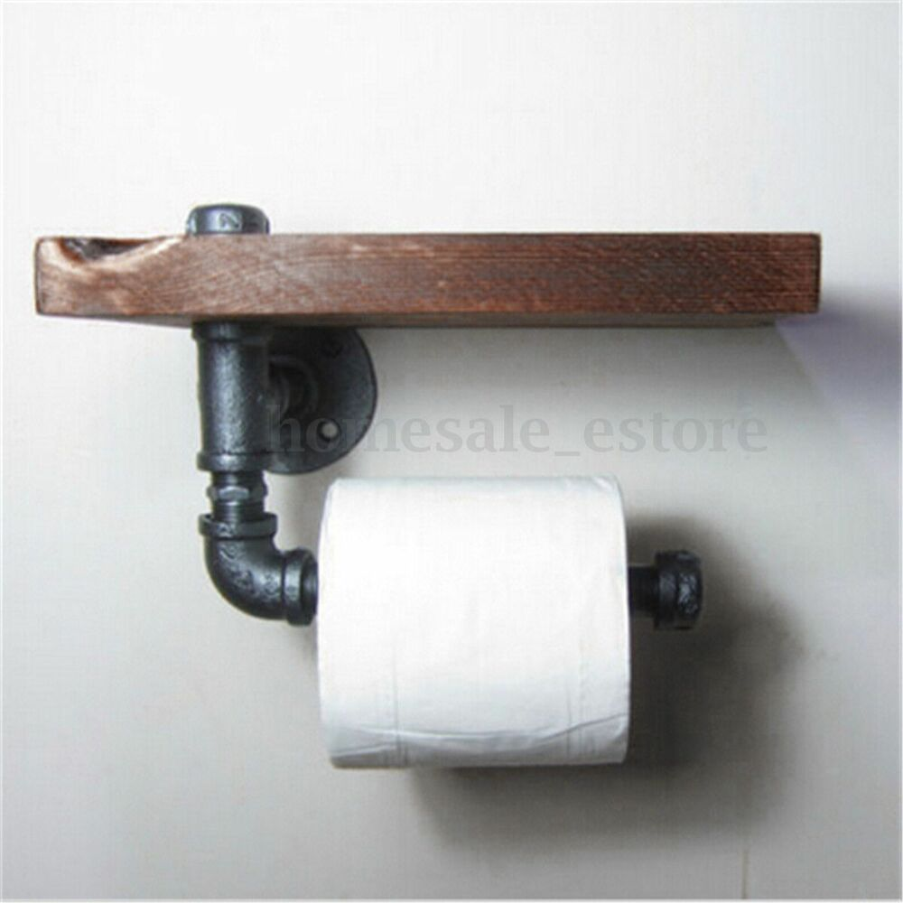 Industrial wall mount iron pipe toilet paper holder roller Wood toilet paper holders