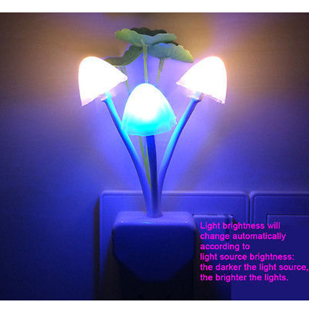 Automatic Led Mushroom Wall Sensor Night Light Lamp Eu Us Plug Home Decor Hot Ebay