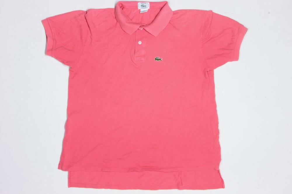 Vtg izod lacoste alligator gator usa made pink polo casual for Lacoste shirts with big alligator
