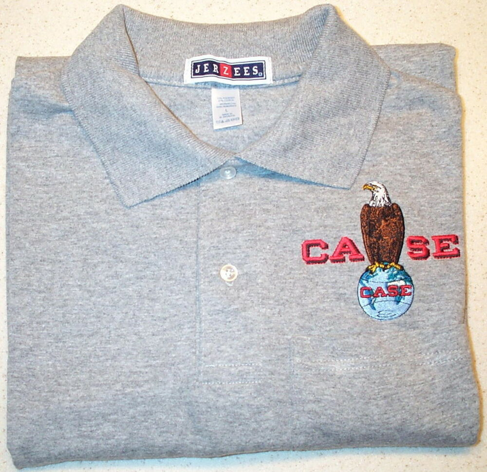 Mens case eagle embroidered polo shirt w pocket colors