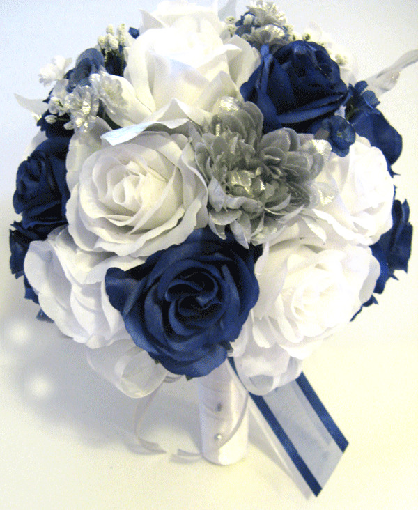 Real Vs Fake Flowers Wedding: 21 Pc Wedding Bouquet Bridal Silk Flowers DARK BLUE SILVER