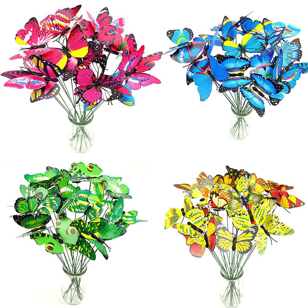 20pcs Plastic Butterfly On A Stick For Home Garden Vase Plant Decor Pot N9R3