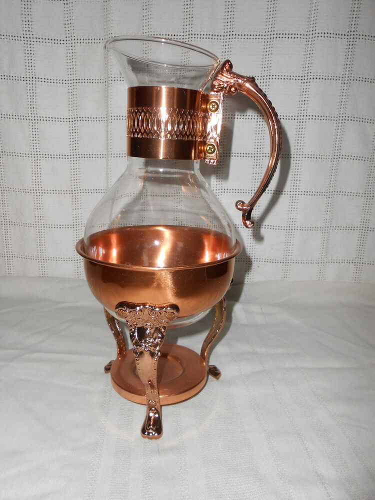 copper glass coffee tea decanter carafe w warmer stand ebay. Black Bedroom Furniture Sets. Home Design Ideas